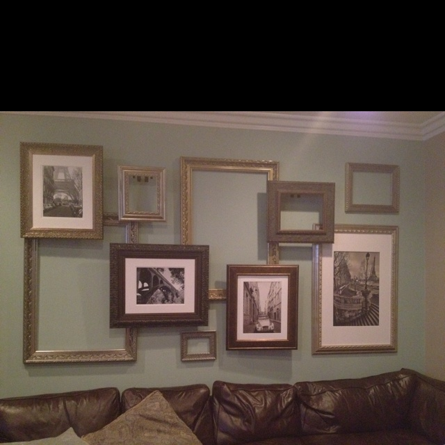 brilliant frame collage this is in a friends home i thought it looked very artistic she says she intends to eventually fill all the frames with photos