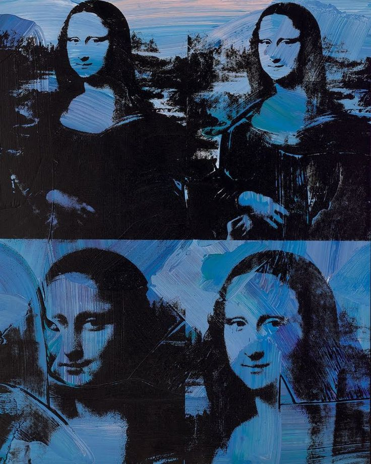 """Mona Lisa by Andy Warhol, 1978. Synthetic polymer and silkscreen ink on canvas, 50 1/8 x 40 1/8"""" (127.3 x 101.9 cm). Signed 'Andy Warhol' (on the overlap)"""