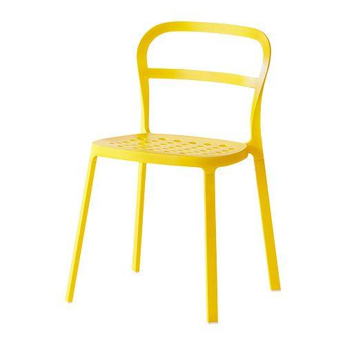 IKEA - REIDAR, Stol, inom-/utomhus, Stol helt i aluminium som tål att stå ute året runt.Hålen i sitsen dränerar bort regnvattnet.Du kan stapla stolarna, så tar de mindre plats när du inte använder dem.