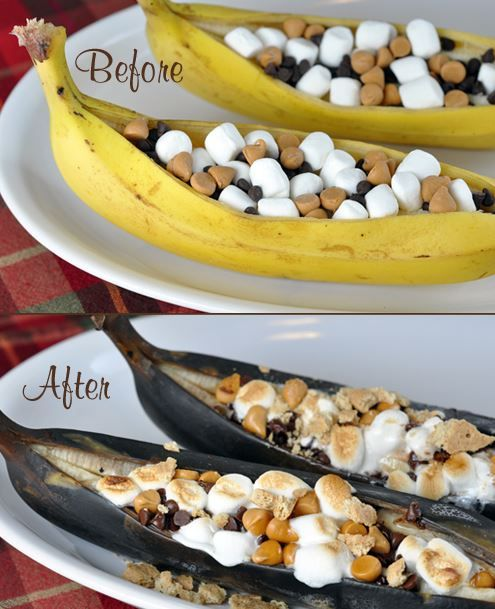 Banana Boat Dessert! Peel back 1/3 of a banana peel and ...