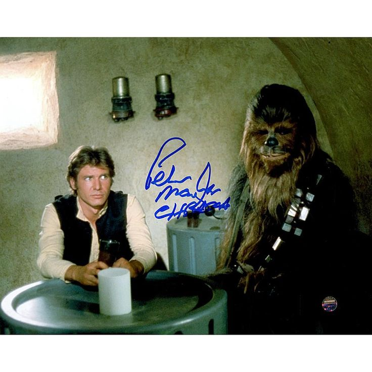 "Star Wars Peter Mayhew Signed ""Chewbacca"" with Han Solo in Cantina 8"" x 10"" Photo"