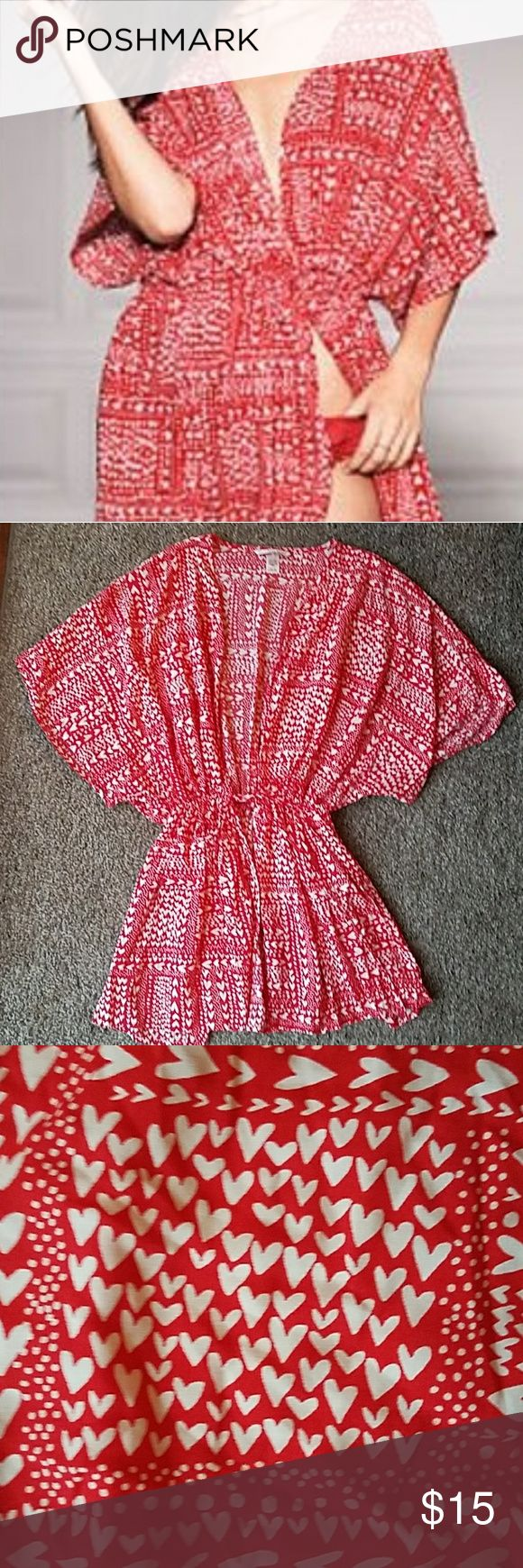 VS Red White Heart Swim Cover Up Excellent Condition ~ No Noted Flaws, Tears, Stains ~ Smoke Free  Red With White Hearts ~ One Size ~ Kimona Sleeve ~ Elastic Waist ~ Tie Front ~ Short Length Victoria's Secret Swim Coverups