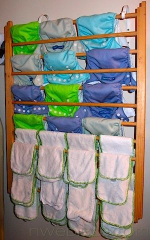 DIY Wall-Mounted Clothes Drying Rack -- Great for Cloth Diapers!! for-the-home