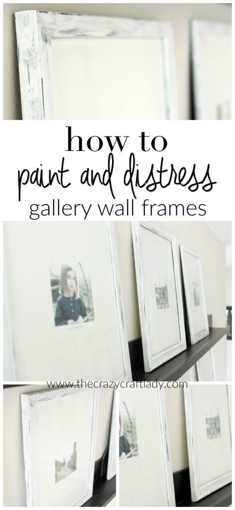 How to Paint and Distress Gallery Wall Picture Frames - paint mismatched, thrift store or other inexpensive picture frames and make a cohesive and stylish gallery wall
