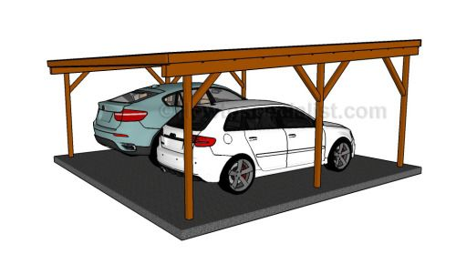 Flat roof double carport plans wooden carport plans for Double carport plans