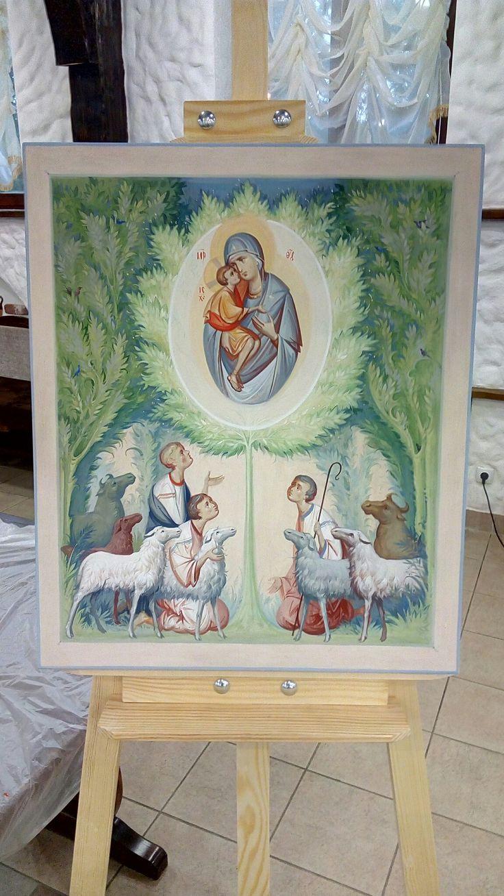 www.ikona-skiniya.com Zhirovitskaia icon of Our Lady by hands of Anton Daineko 2016