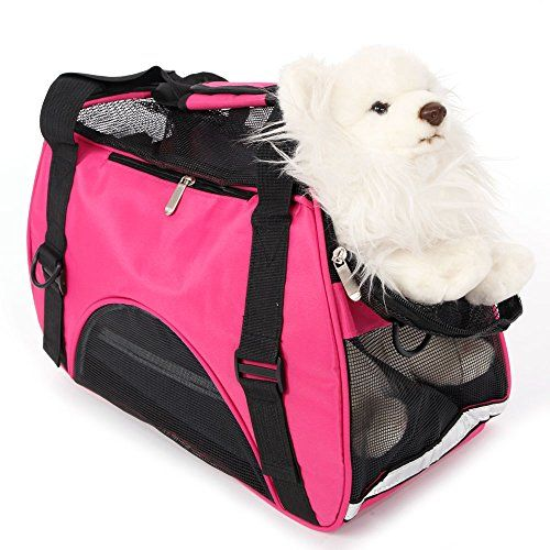 MicroMall Nylon Waterproof Comfort Carrier Soft Pet Handbag Travel Bag For Dog Cat Puppy Small Rose