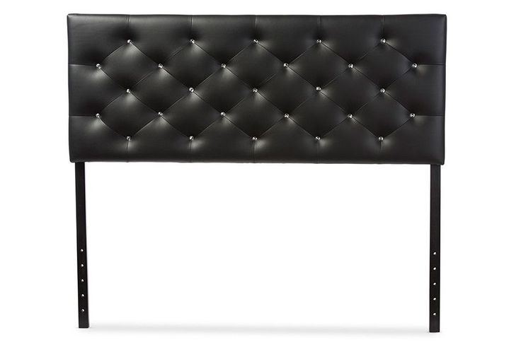 Viviana Black Faux Leather Button-tufted Queen Size Headboard