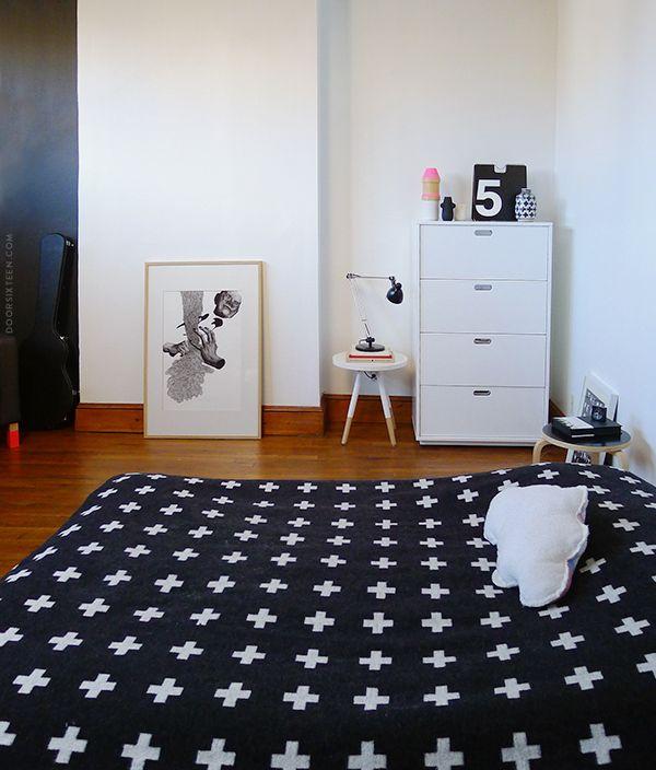 Via Door Sixteen   Bedroom   Pia Wallen Cross Blanket   Massimo Vignelli Perpetual Calendar