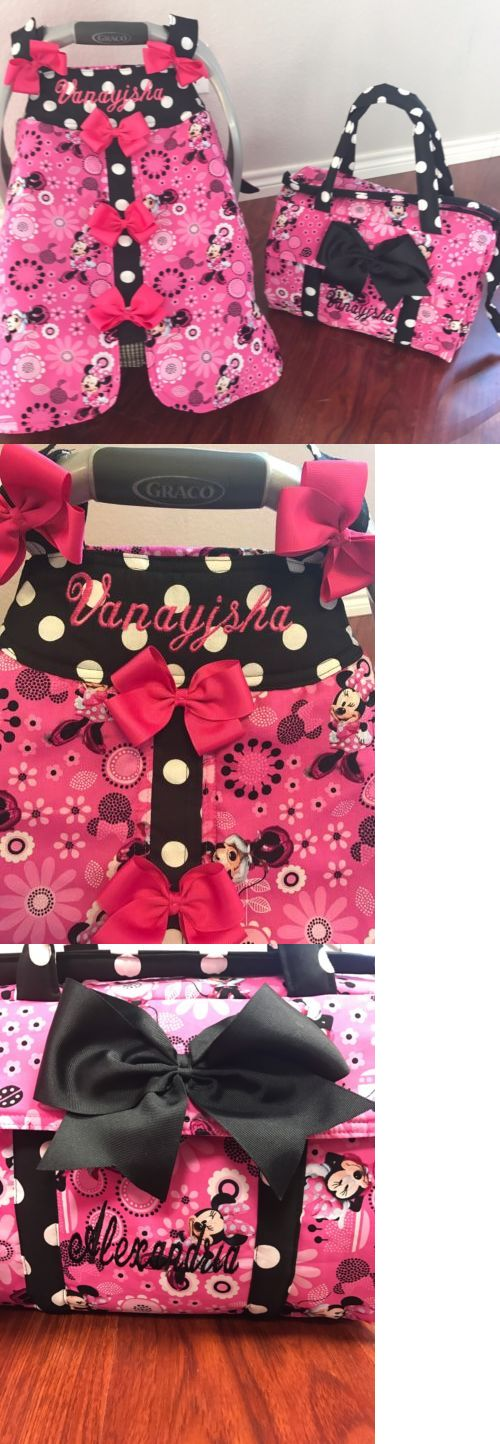 Baby: Brand-New Minnie Mouse Handmade Baby Infant Car Seat Canopyand Diaper Bag -> BUY IT NOW ONLY: $75 on eBay!