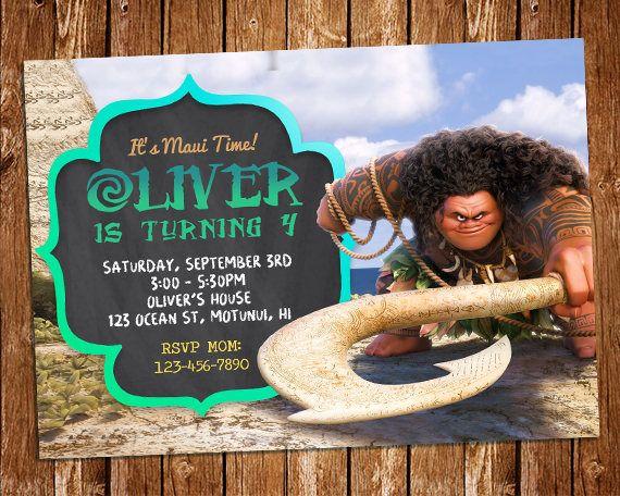 Maui Invitation Maui Birthday Party Invite Moana Invitation