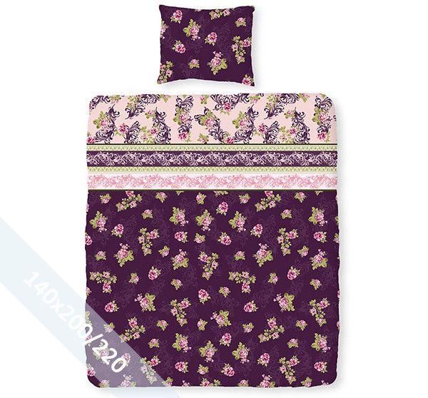 Romanette dekbedovertrek 'Rosanna' paars flanel. Een éénpersoons (140x200/220 cm) dekbedovertrek van flanel met als basis een paarse achtergrond. Daarop diverse patronen met bloemen en barok prints.