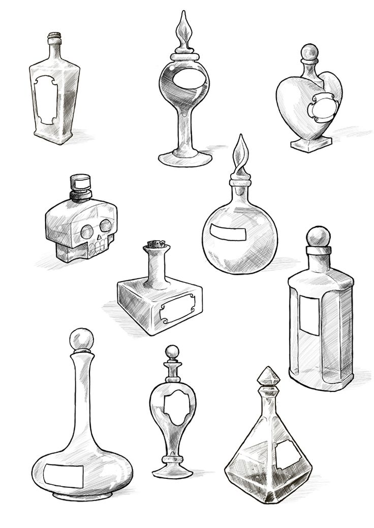 perfect little samples & ideas for my alice in wonderland tattoo!  Potion bottles by Maieth on deviantART