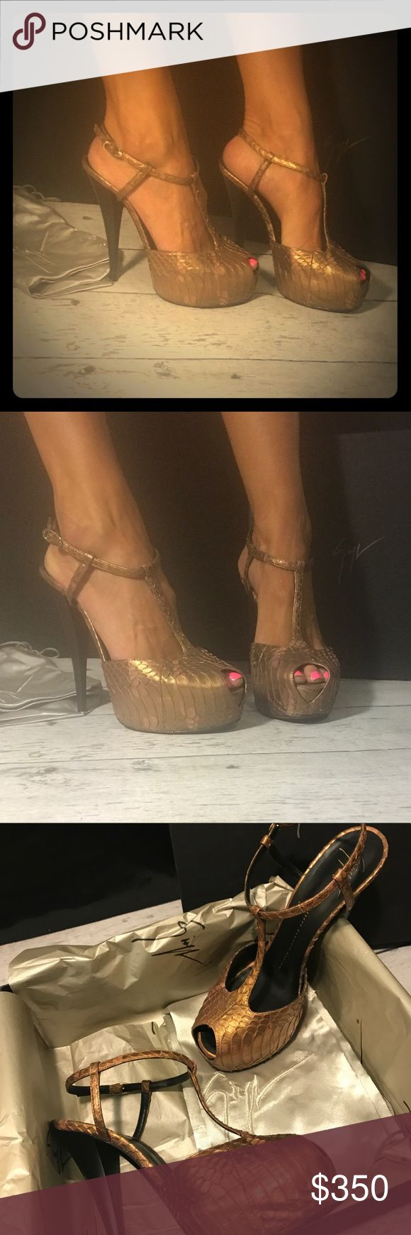 Giuseppe Zanotti t strap platforms 39 NEVER WORN! Giuseppe Zanotti snakeskin t strap platforms size 39 fits women US size 8.5-9 NEVER WORN! Box, tissue paper and dust bag all included! Originally retail price 650 Giuseppe Zanotti Shoes Platforms