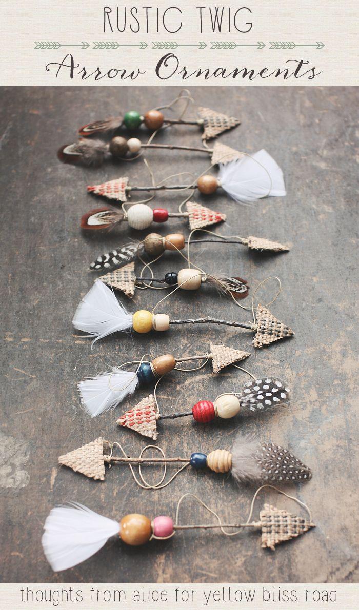 rustic-twig arrow ornaments