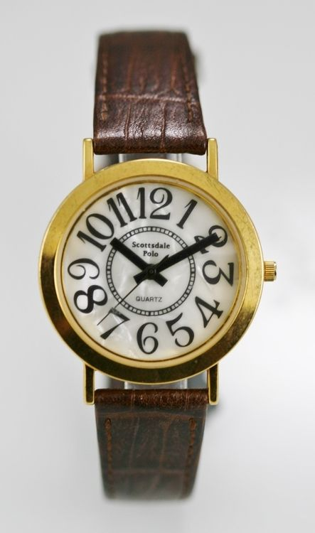 Scottsdale Polo Watch Mens White Pearl Stainless Gold Steel Brown Leather Quart