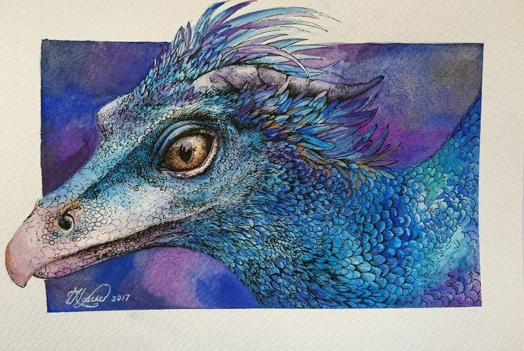 Occamy Concept Art Study  Watercolor Paint and Ink  15cm x 23cm  #fantasticbeastsandwheretofindthem #occamy #art #watercolor #painting #drawing