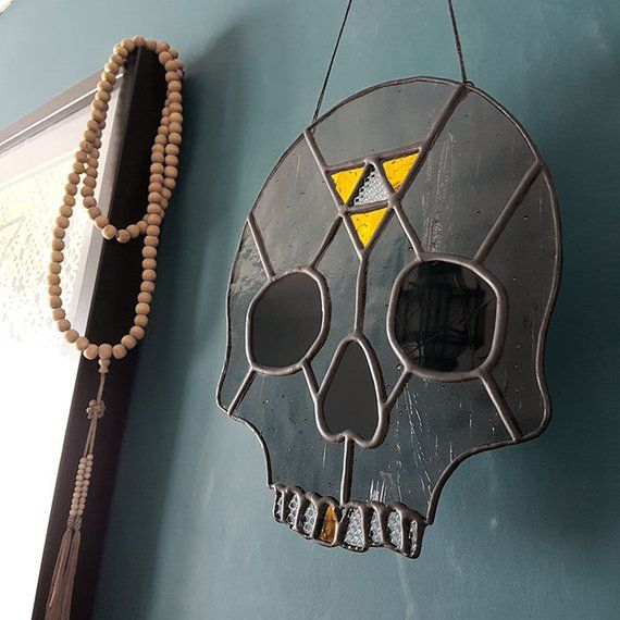 Stained Glass Geometric Skull Gold Mirror Grey And Textured Glass Life Sized Skull Home Decor Goth Glass Texture Mirror Texture Antique Glass