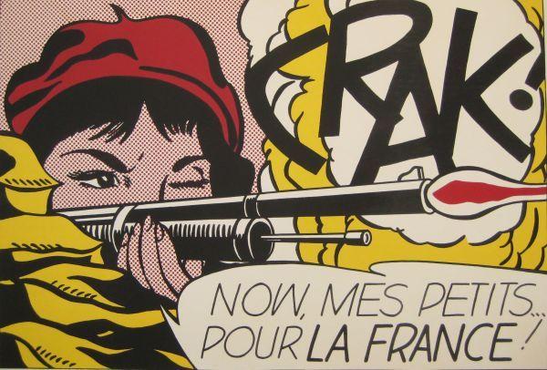 Reproduction de Roy Lichtenstein, Crak. Tableau peint à la main dans nos ateliers. Peinture à l'huile sur toile.