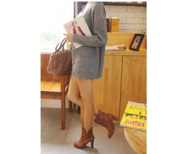 cardigan oversize loose fit -   gray