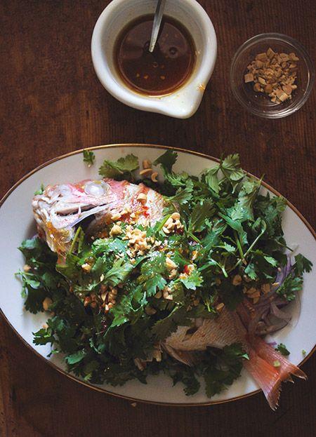 「蒸し鯛とパクチーのサラダ」:ヒグッチーニ連載:メンズキッチンへようこそ Higucciniの週末もてなしランチ:レシピブログ