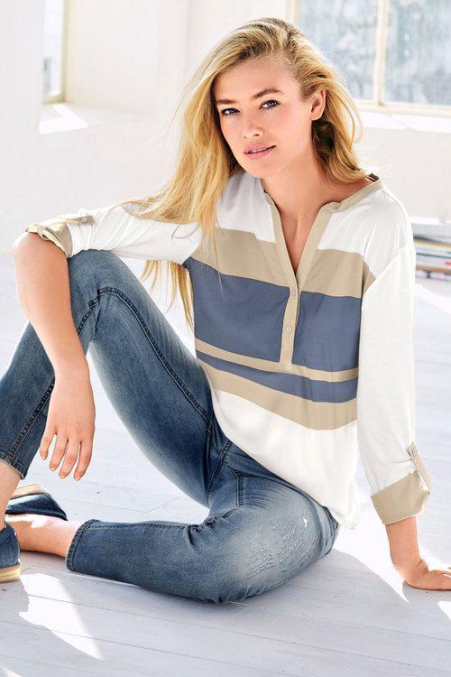 Heine Stripe Detail Henley Blouse