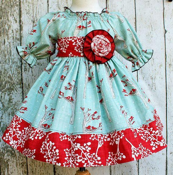 "Girls Holiday Winter Berry Peasant Dress in ""Noel"" girls peasant dress"