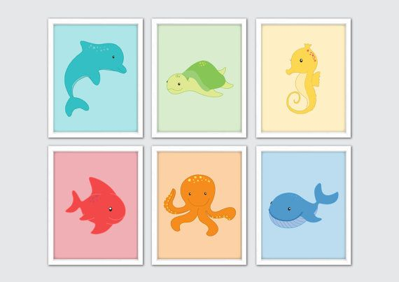 Sea Animals Nursery Art Sea Life Art Sea Animals by RomeCreations