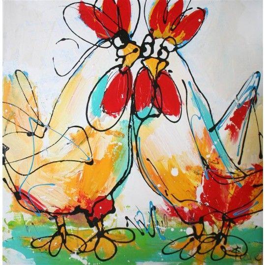 Schilderij twee kippen rood wit verliefd