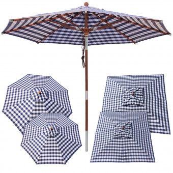 anndora® Sonnenschirm Gastronomie mit Winddach - kariert blau weiß - Größenwahl