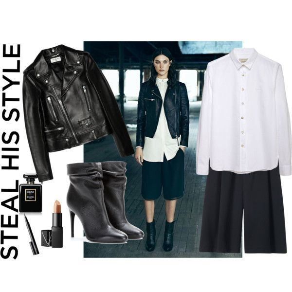 How to steal your boyfriend's style #fashion #blackandwhite #boots #boyfriendstyle