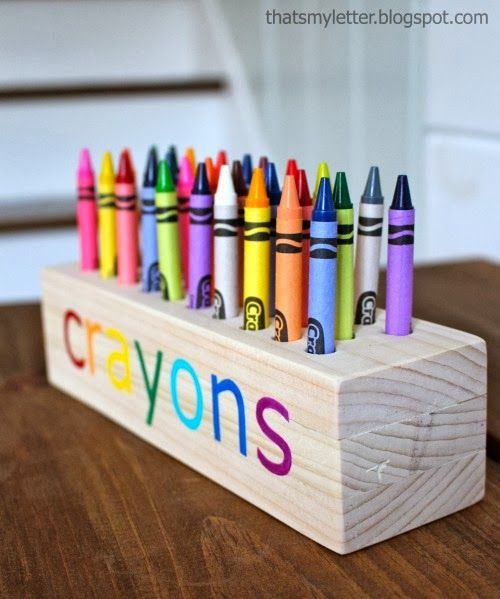 "would love this for the kids. make one for each child and instead of ""crayons"", put their names."