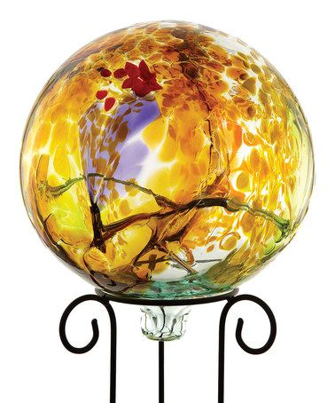 Take a look at this Yellow 10'' Kitras Gazing Ball & Stand by Kitras Art Glass on #zulily today!