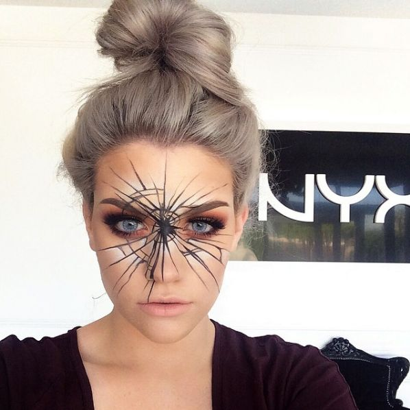 31 Days Of Halloween Beauty Inspiration  #refinery29  http://www.refinery29.com/2016/10/124960/cool-halloween-diy-makeup-ideas-photos#slide-26  Shattered glass or spiderweb? You can go either way here....
