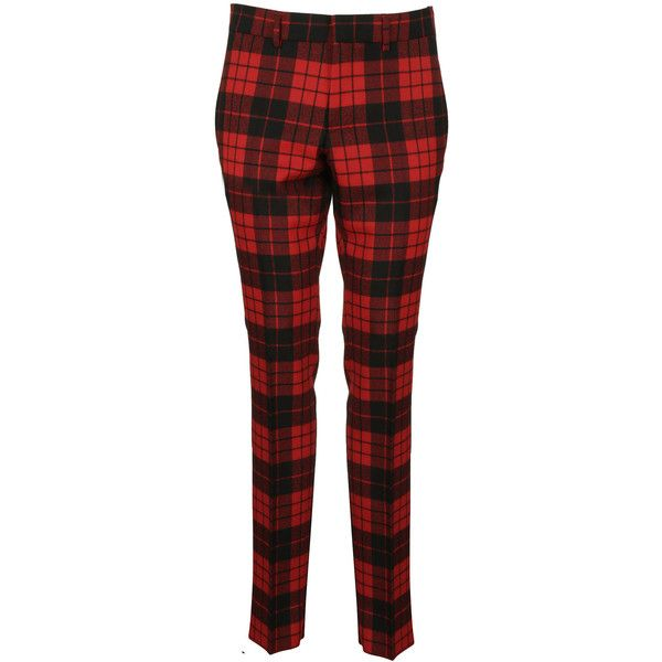 Gucci Tartan Trousers ($200) ❤ liked on Polyvore featuring pants, capris, red, red plaid pants, tartan pants, red pants, plaid pants and tartan plaid pants