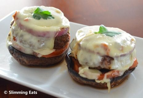 Mozzarella, Red Pesto and Red Onion Topped Burgers | Slimming Eats - Slimming World Recipes