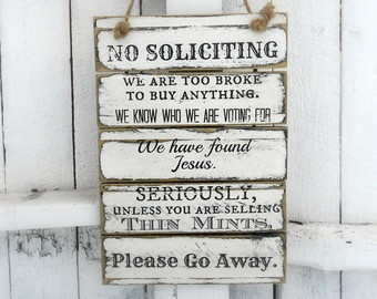 diy no soliciting sign - Google Search