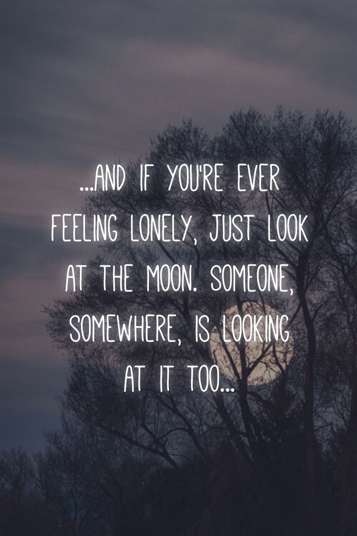 and if you're ever feeling lonely, just look at the moon ...