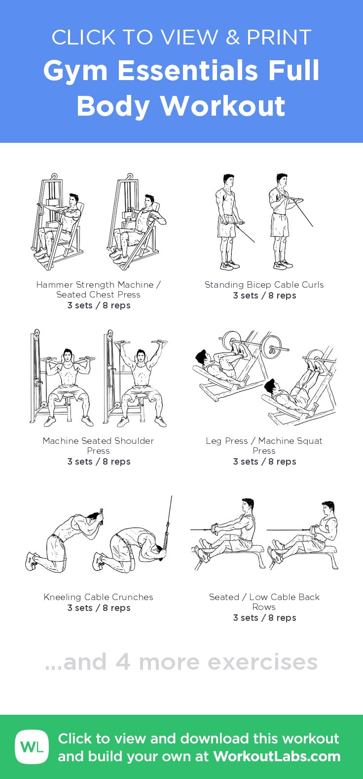 Gym Essentials Full Body Workout –click to view and print this illustrated exercise plan created with #WorkoutLabsFit