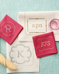 Add a personalized touch to napkins and other fabrics with stenciled monograms.