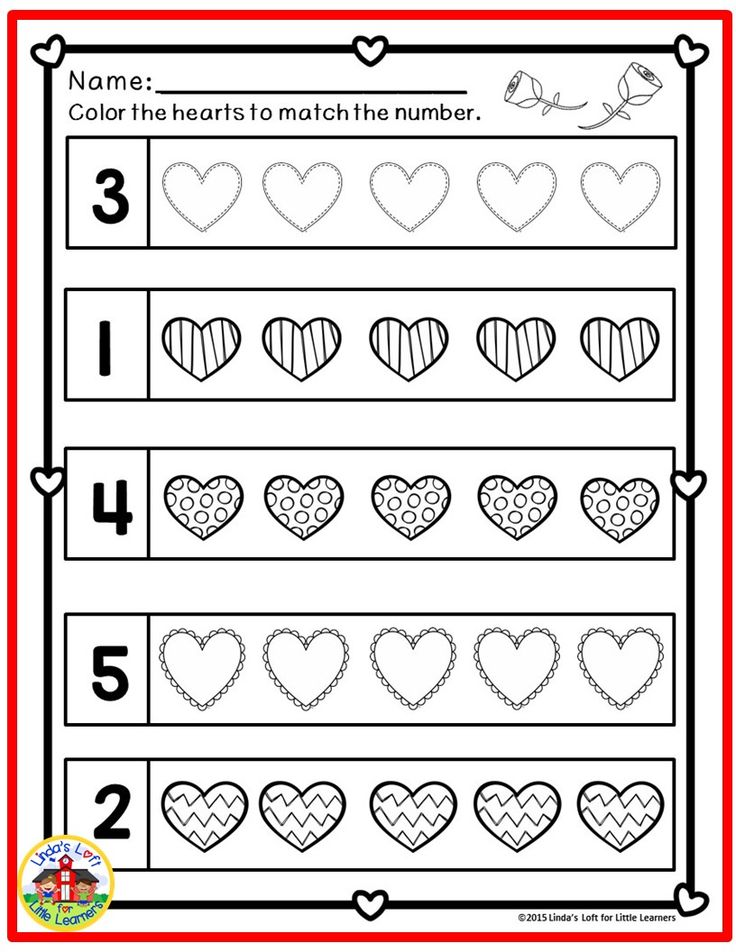 Reinforce counting practice one to ten, math concepts such as same/different, larger/smaller, taller/shorter, more/less and patterning (AB, ABB) with these Valentine Math Preschool Printables.