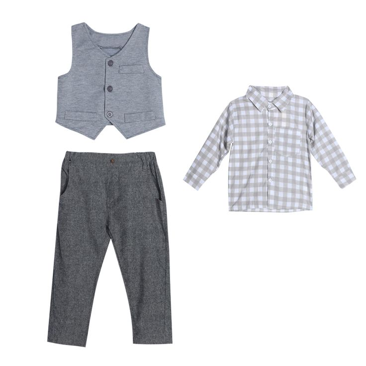 6 to 18 Months 3Pcs Baby Clothing Set Toddler Kids Boys Long Sleeve Plaid Shirt Vest Pants Clothes Outfit  European Style 2017