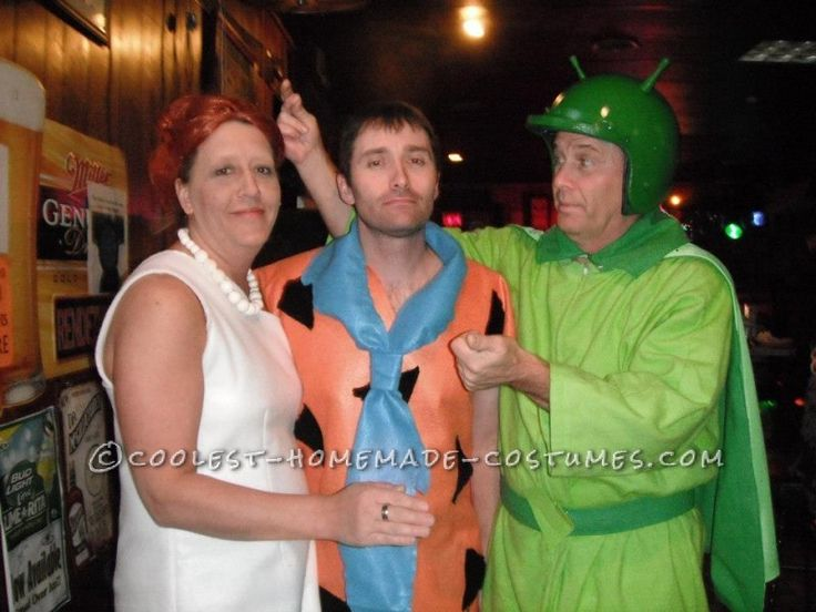home made flintstones group halloween costume - Halloween Flintstones