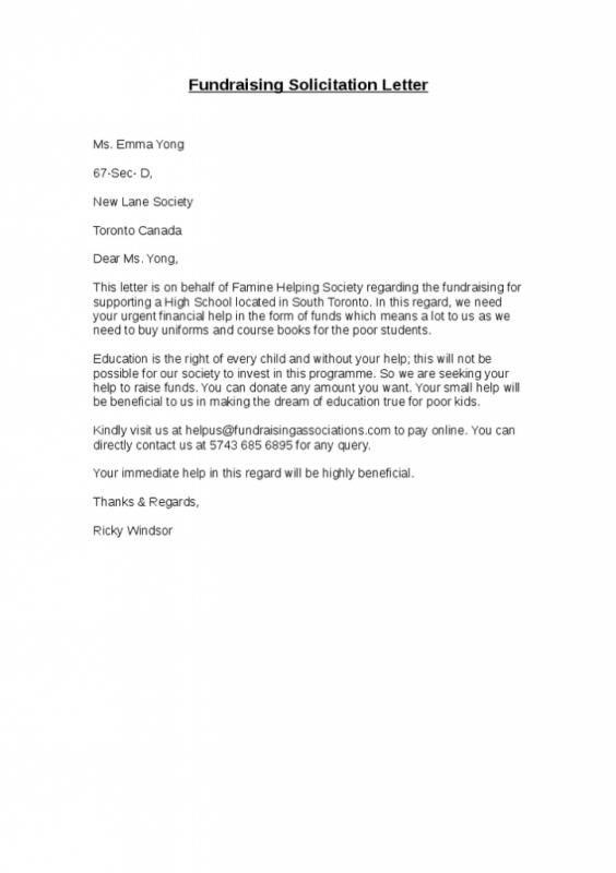 Solicitation Letter Sample Solicitation letter Letter sample