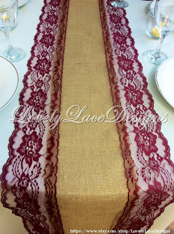 Burlap Lace Table Runner/ Wine/ Burgundy by LovelyLaceDesigns