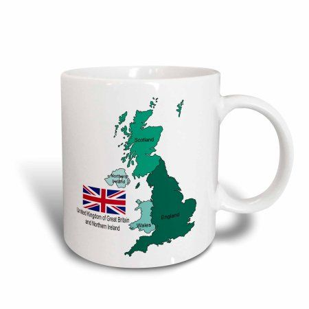 3dRose Flag and map of United Kingdom of Great Britain and Northern Ireland, Ceramic Mug, 11-ounce