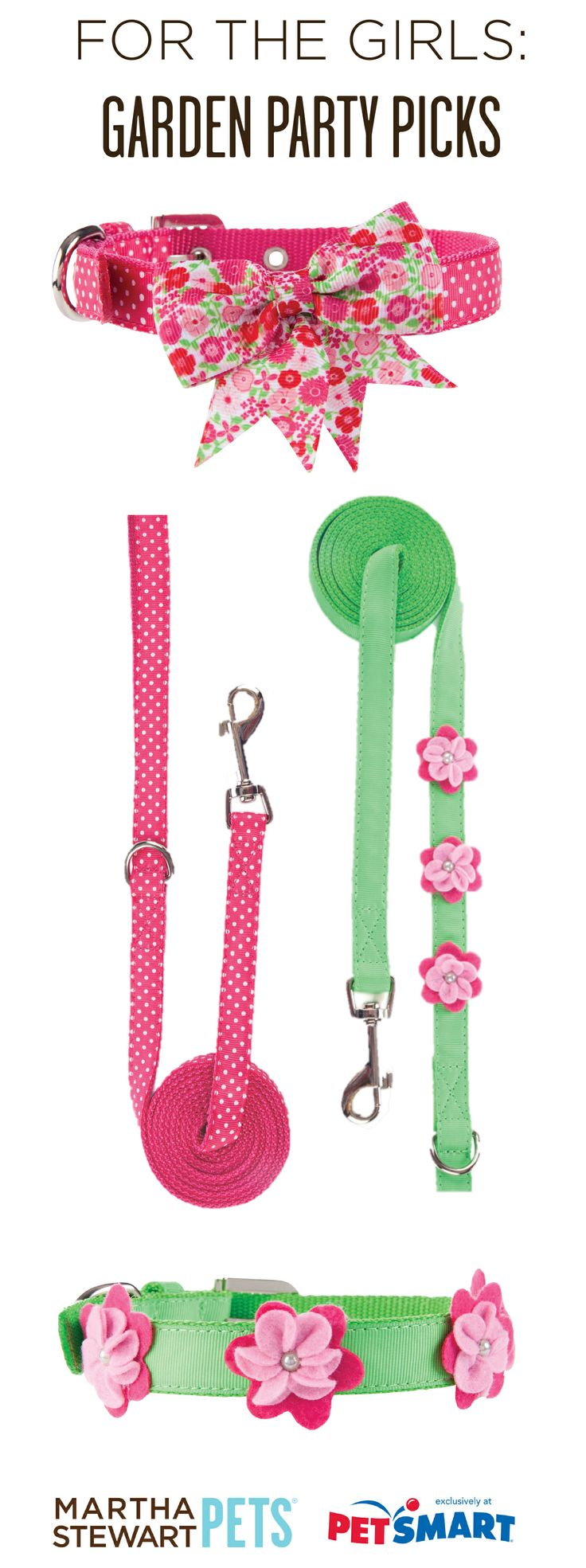 The #MarthaStewartPets Garden Party collection has the perfect mix of pink, green, dots, and bows! Only at #PetSmart.: Doggy Supplies, Girl Dog Collars, Pets Flossie Nala Maddy, Garden Parties, Marthastewartpets Garden, Doggy Do S