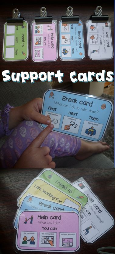 I made these Class cards that are a little bit bigger than the size of an index card and placed a couple of useful visuals on them to use for students with Autism.