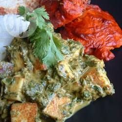 Palak Paneer (spinazie met Indiase roomkaas) @ allrecipes.nl