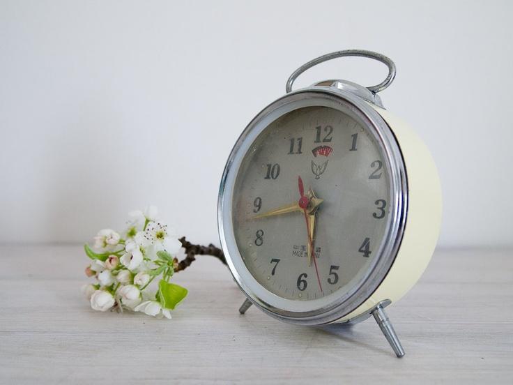 vintage cream wind up alarm clock. | time after time | Pinterest